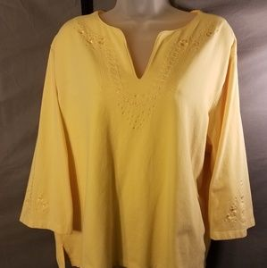 Denim & Co. Yellow Top